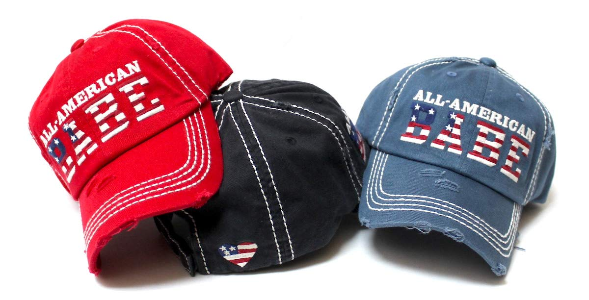 Women's Distressed Baseball Cap All-American Babe American Flag, Heart Monogram Embroidery Hat