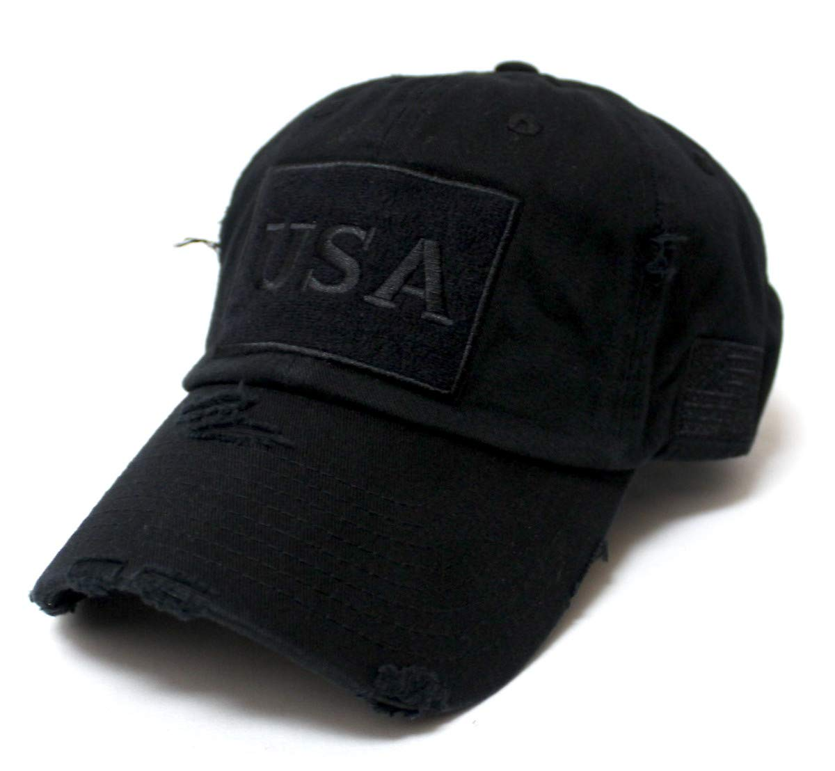 CAPS 'N VINTAGE Distressed USA American Flag Monogram Embroidery Adjustable Hat, Washed Black - Caps 'N Vintage