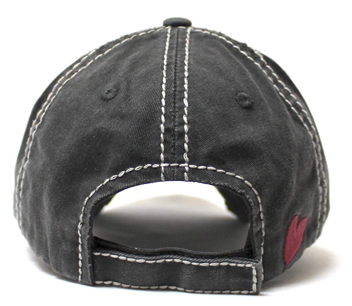 Women's Distressed Ballcap I Gotta Good Heart but This Mouth Hearts, Kisses Patch Embroidery Hat, Vintage Black - Caps 'N Vintage