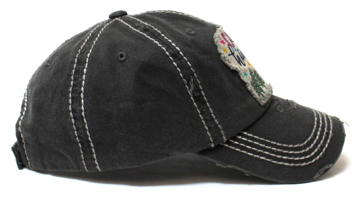 CAPS 'N VINTAGE Women's Baseball Cap Camping Hair Don't Care Patch Embroidery Monogram Hat, Charcoal Black - Caps 'N Vintage
