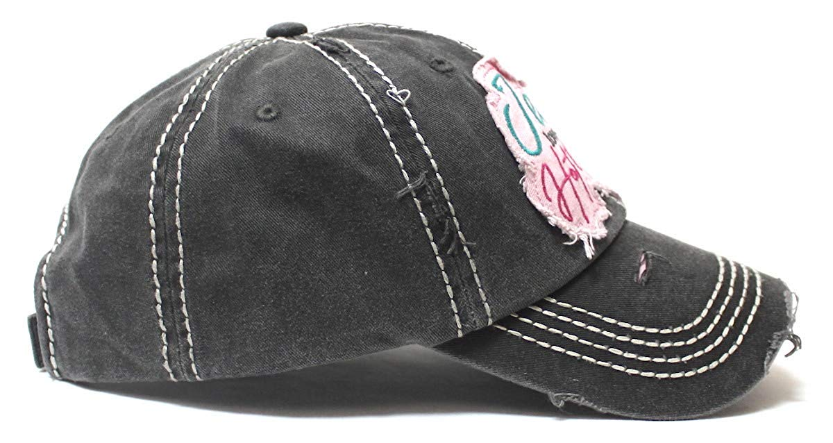 Women's Baseball Cap Jesus Loves This Hot Mess Heart Patch Embroidery Hat, Vintage Black - Caps 'N Vintage