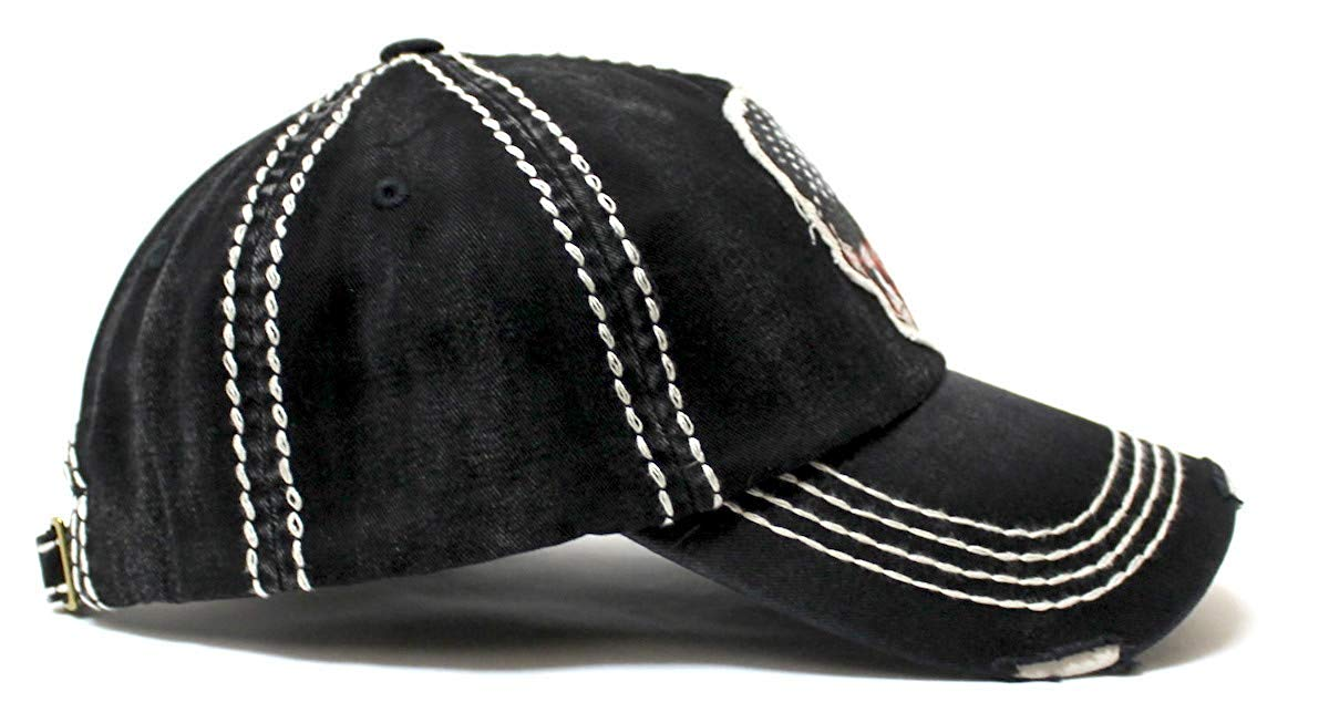 Classic Ballcap American Flag Skull Patch Embroidery Vintage Hat, Black - Caps 'N Vintage