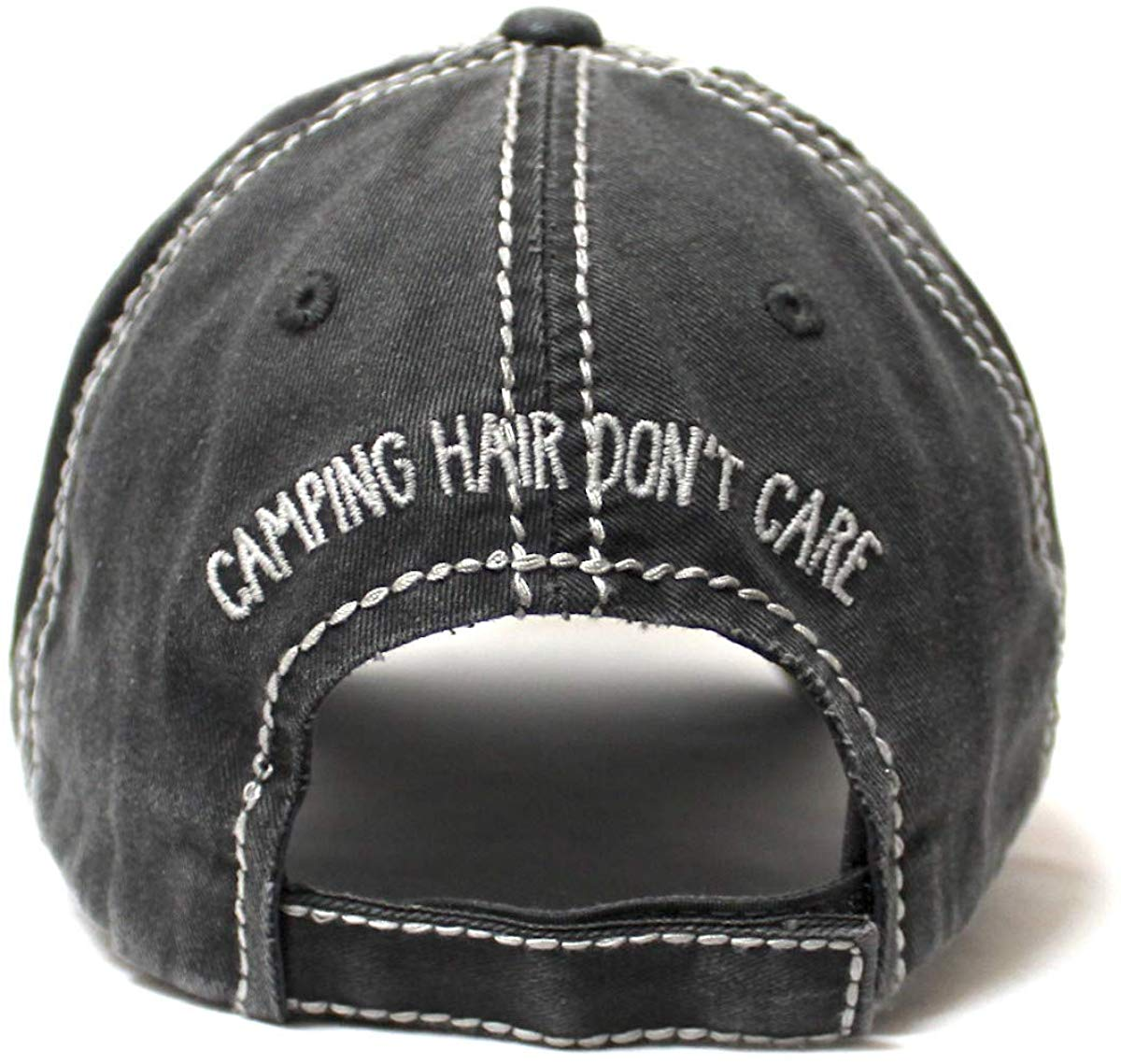 Camping Hair Don't Care Distressed Ballcap, Buffalo Plaid Patterned Truck Embroidery Adjustable Hat, Vintage Black - Caps 'N Vintage