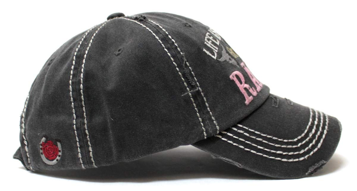 Women's Baseball Cap Life is Better on The Ranch Country Western Monogram Adjustable Hat, Vintage Black - Caps 'N Vintage