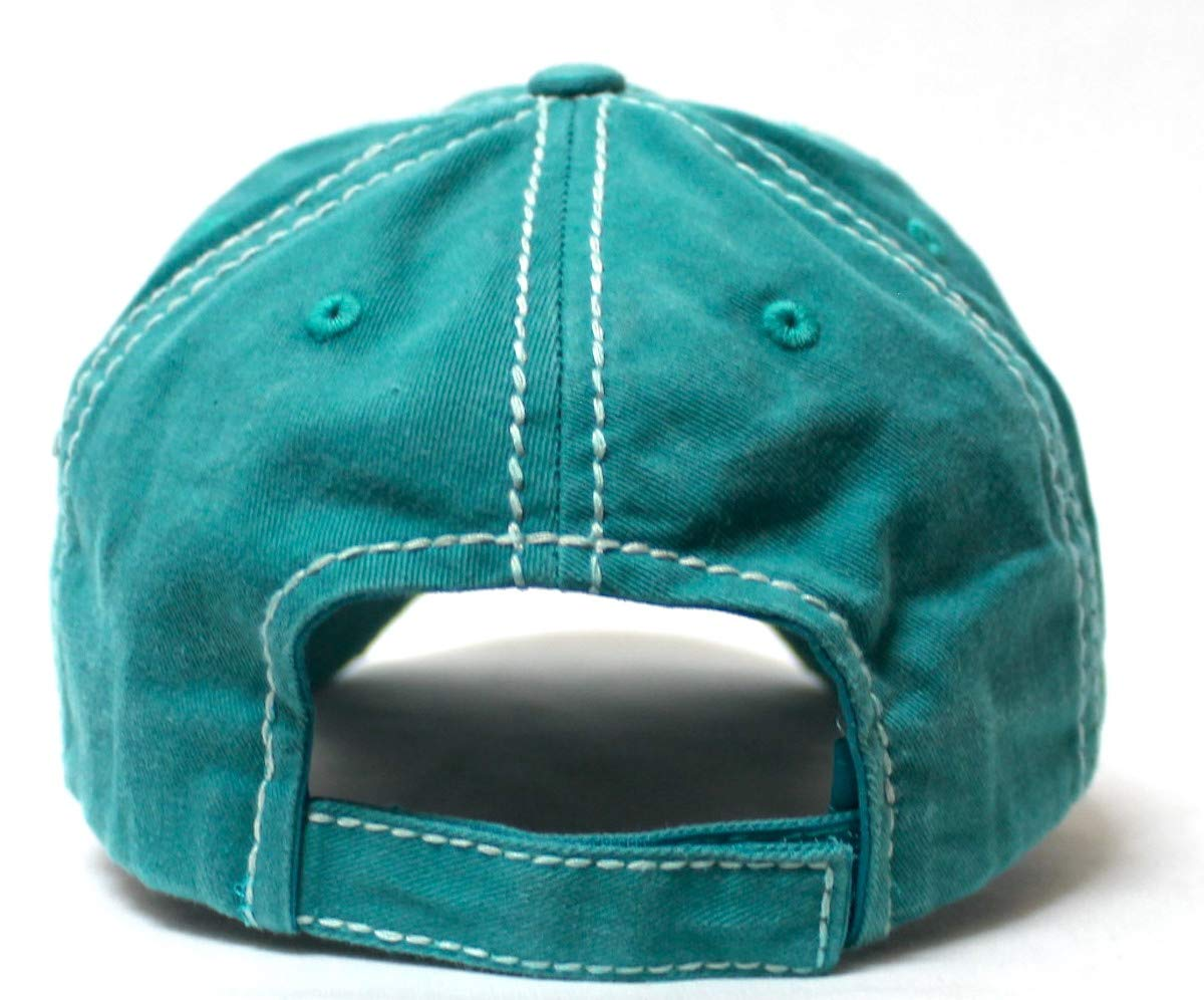 Women's Vintage Hat Sugar Skull Monogram Patch Embroidery Baseball Cap, California Jewel Turquoise