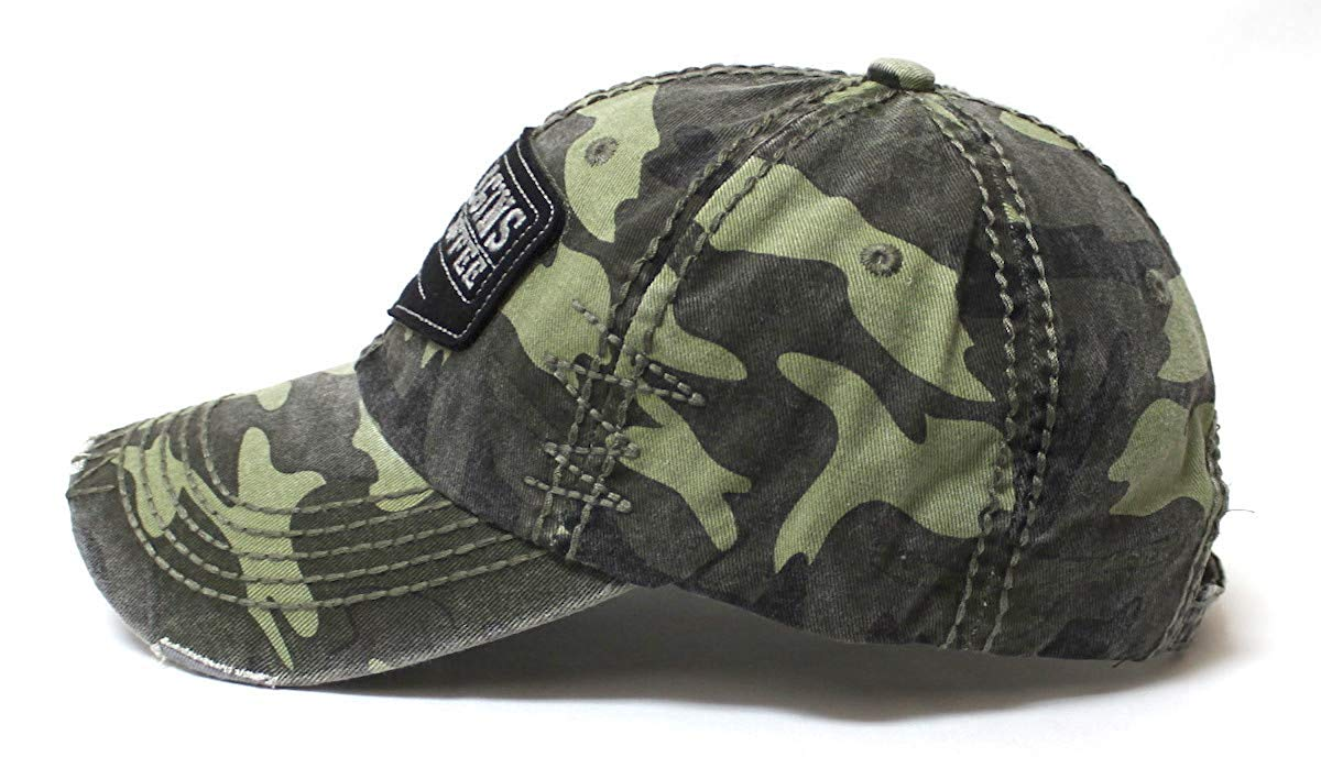 Classic Varsity Ball Cap Life Begins After Coffee Patch Embroidery Hat, Army Camoflauge - Caps 'N Vintage