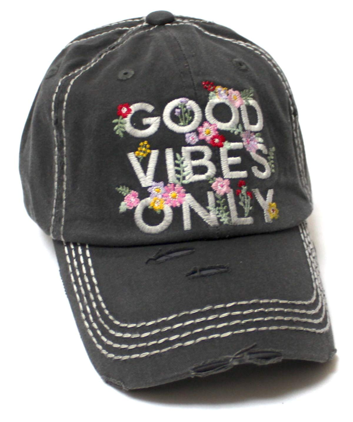Women's Summer Ballcap Good Vibes Only Floral Monogram Embroidery Beach Hat, Vintage Black - Caps 'N Vintage