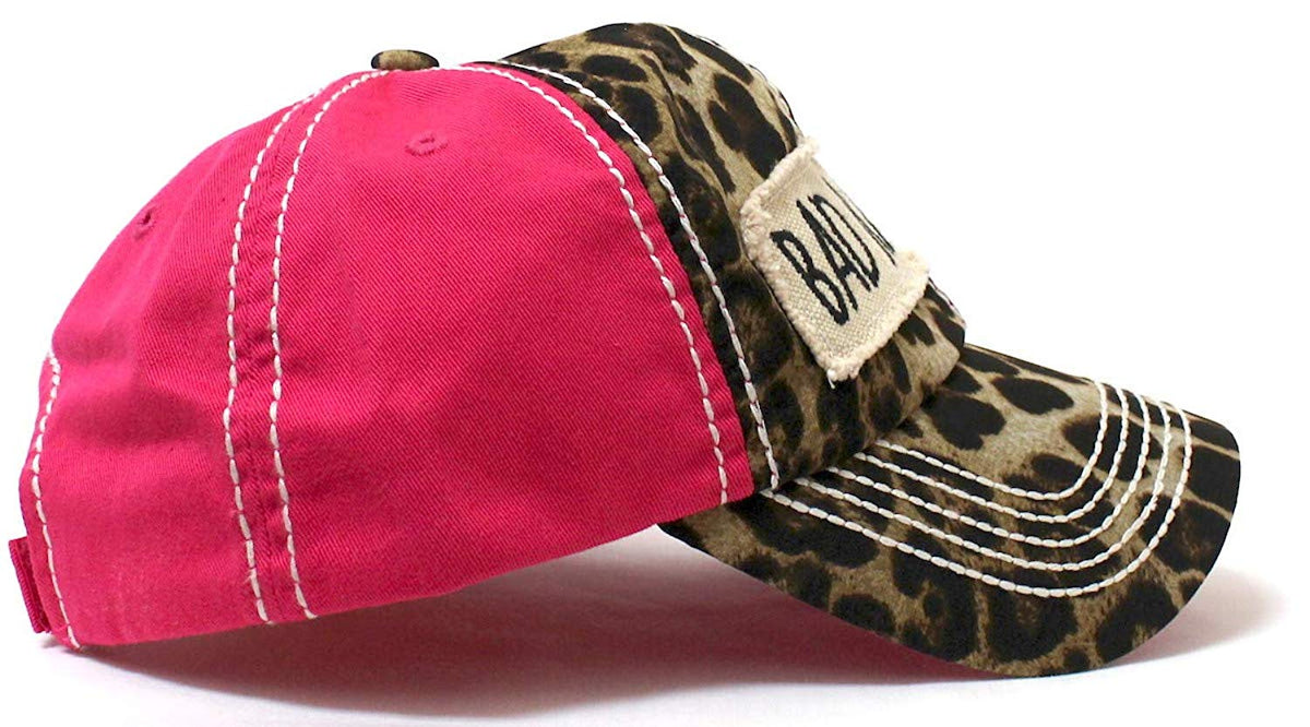 "NEW!! Leopard/Pink""BAD HAIR DAY"" Patch Embroidery Hat - Caps 'N Vintage"