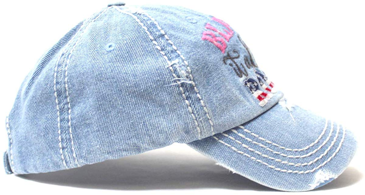 Classic Ballcap Blame it All on My Roots Monogram Embroidery USA Flag Themed Hat, Denim Blue - Caps 'N Vintage