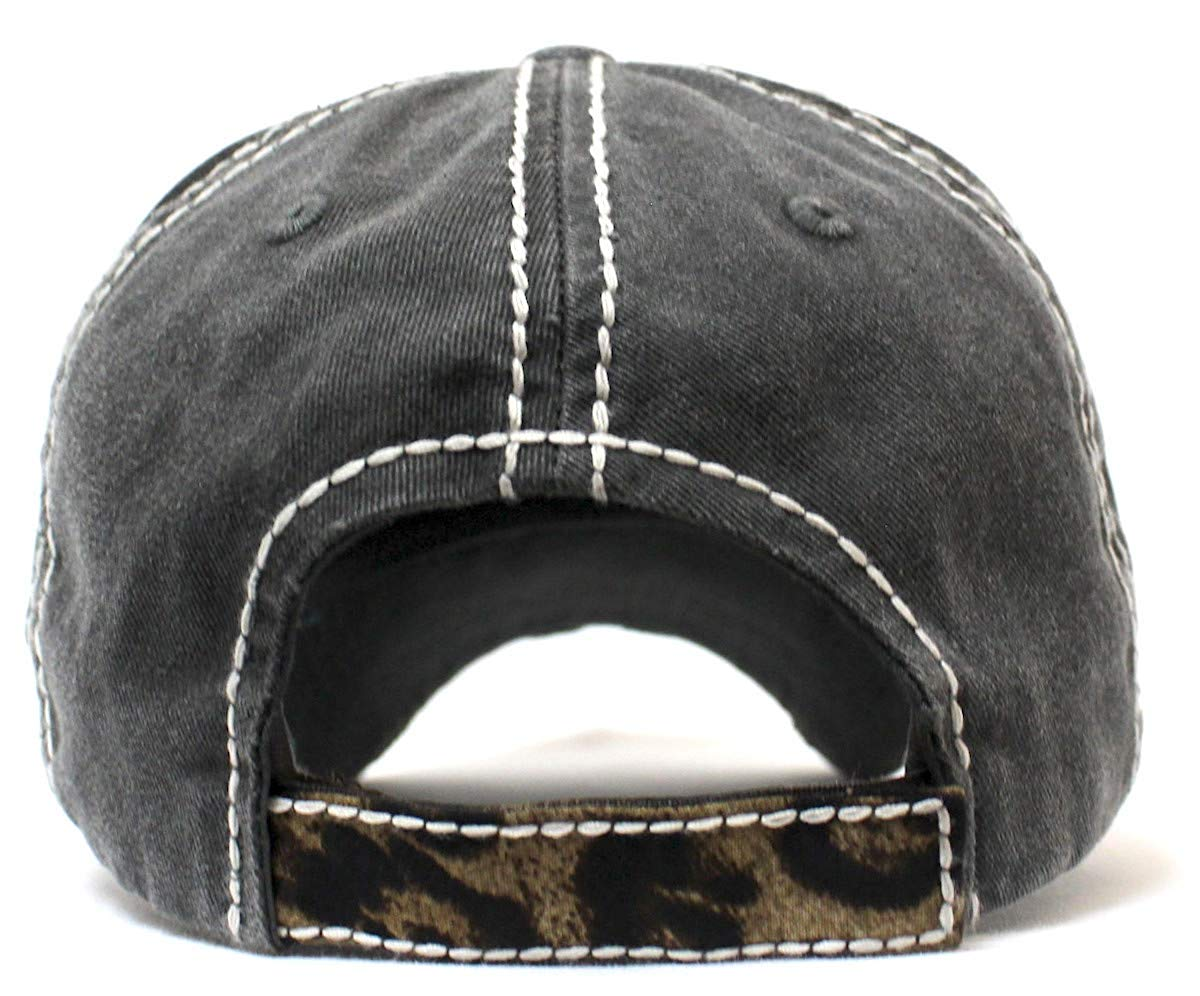 CAPS 'N VINTAGE Women's Hat Lord Have Mercy Leopard Embroidery Cap, Graphite Blk - Caps 'N Vintage