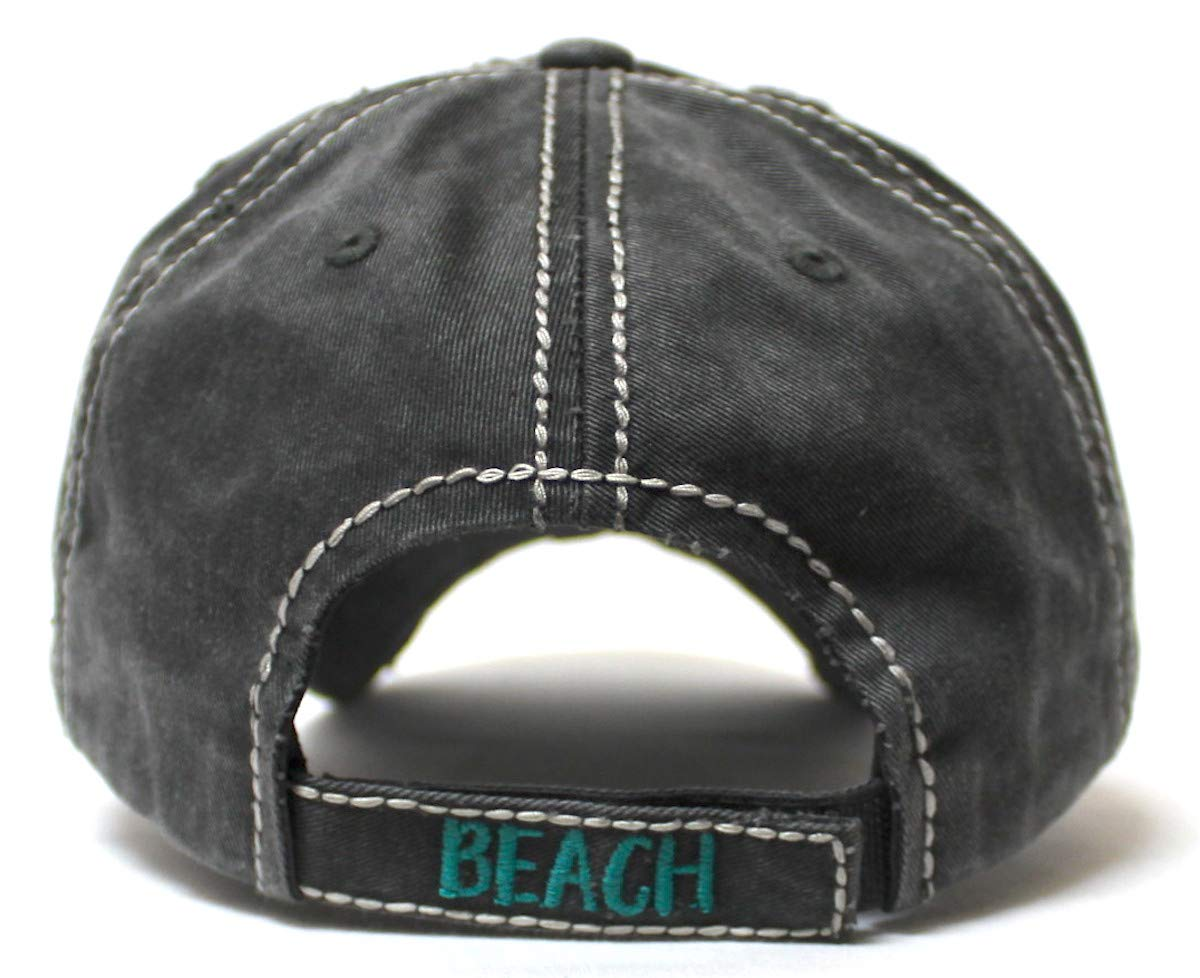 Women's Distressed Summer Cap Life's a Beach Aloha Pineapple Spirit Patch Embroidery Monogram Hat, Vintage Black - Caps 'N Vintage