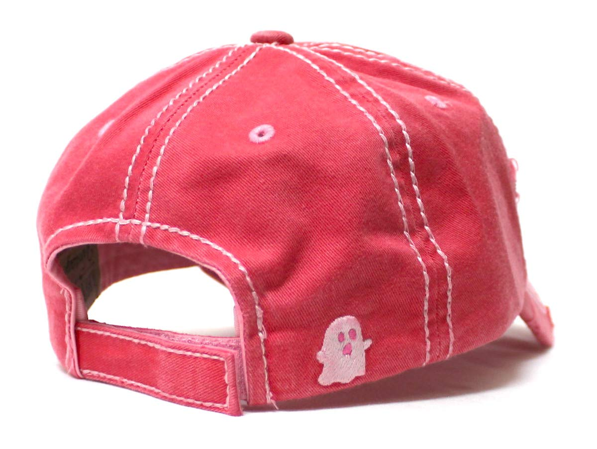 Women's Vintage Baseball Cap I'm Here for The Boos Halloween Spirit Patch Embroidery Hat, Pumpkin Rose Pink