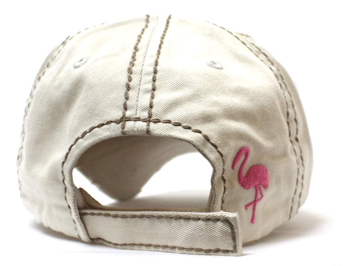 Vintage Stone I Don't Give a Flock Flamingo Embroidery Hat - Caps 'N Vintage