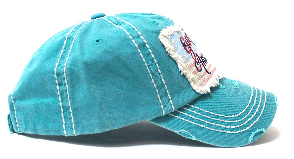 July 4 Celebratory USA Flag Patch God Bless America Embroidery Ballcap, Turquoise - Caps 'N Vintage