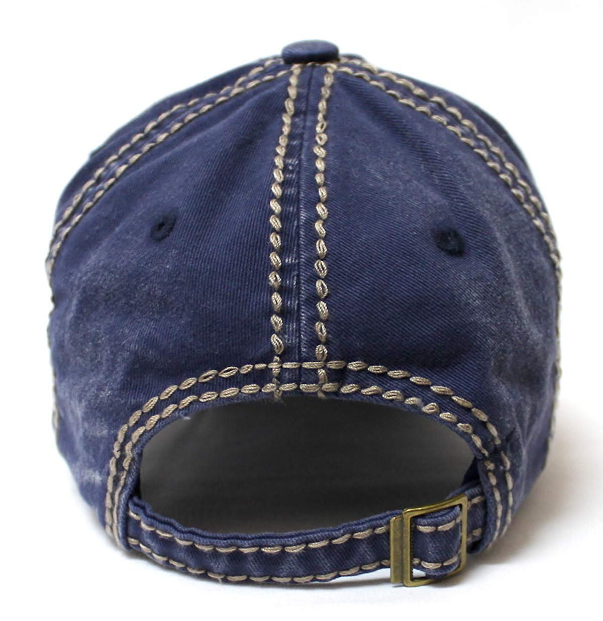 Classic Varsity Ball Cap Life Begins After Coffee Patch Embroidery Hat, Navy Blue - Caps 'N Vintage