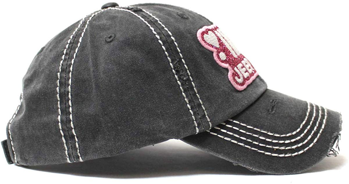 Women's Ballcap Jeep Girl Pink Glitter, Hearts Patch Embroidery Hat, Vintage Black - Caps 'N Vintage