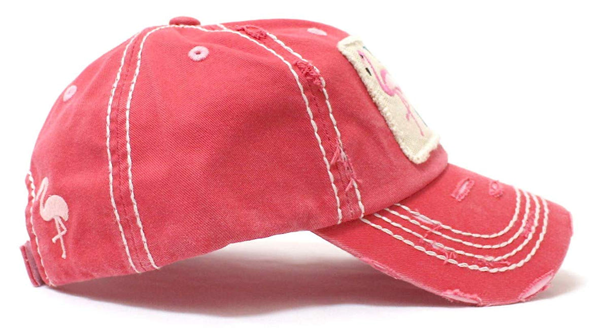 Flamingo Pink I Don't Give a Flock Patch Embroidery Hat - Caps 'N Vintage