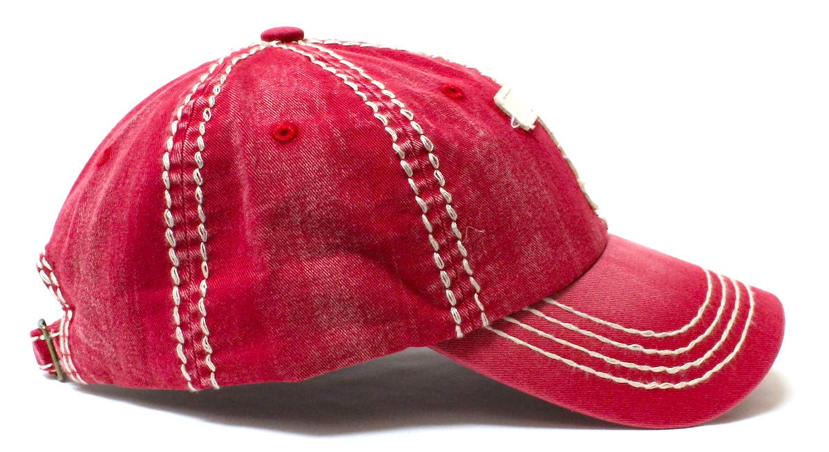 Casual Ballcap T Monogram Embroidery Adjustable Hat, Vintage Red - Caps 'N Vintage