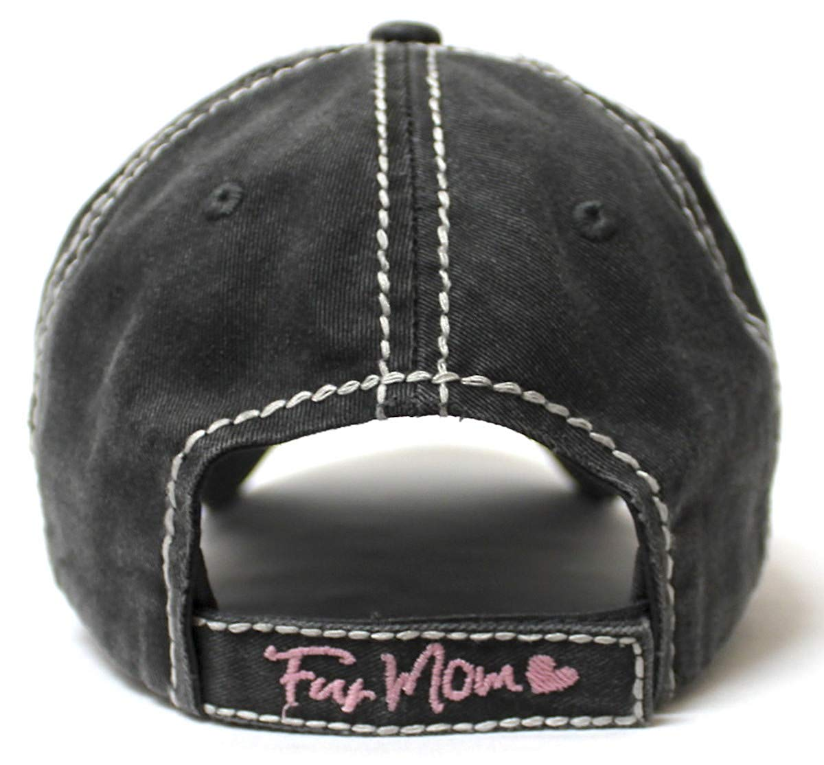 Women's Distressed Graphic Cap Fur Mom Fuzzy Dog Paw Embroidery, Blk - Caps 'N Vintage