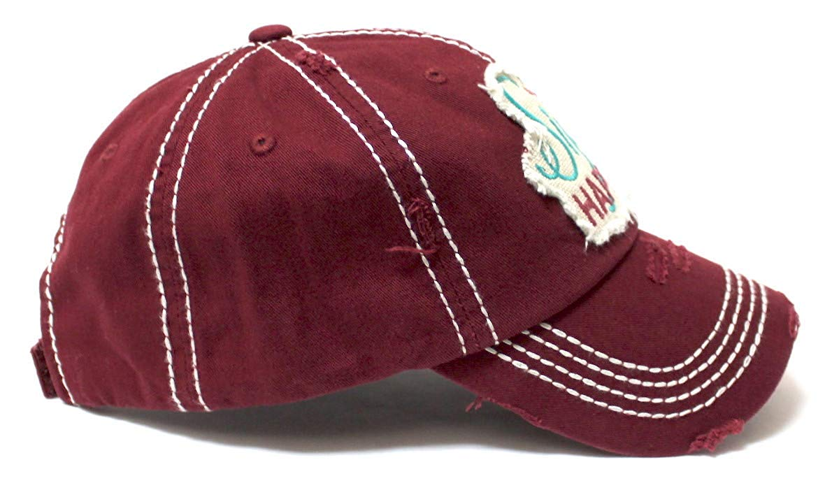 CAPS 'N VINTAGE Women's Baseball Cap Wine Glass Sip Happens Monogram Embroidery Hat, Wine Red - Caps 'N Vintage