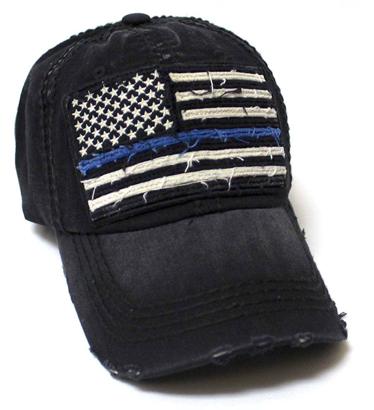 Classic Ballcap Blue Line Patriotic USA Police Department Memorial American Flag Vintage Hat, Black - Caps 'N Vintage