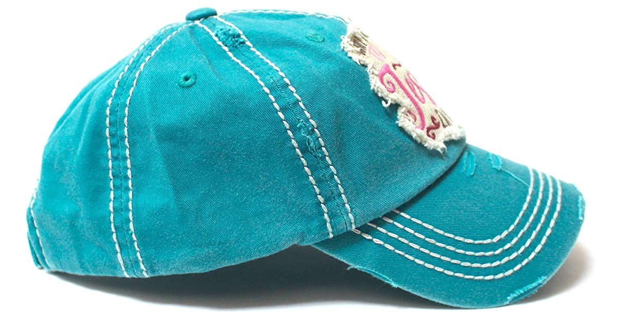 Women's Ballcap Why Y'all Tryin' to Test The Jesus in Me? Christian Patch Embroidery Vintage Hat, Jewel Turquoise - Caps 'N Vintage