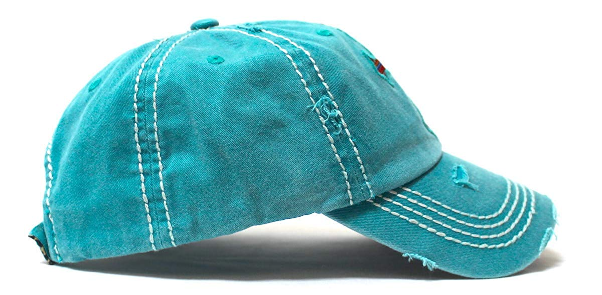 Classic Vintage Distressed Ballcap Christian Cross Monogram Embroidery, Serape & Leopard Patterned Adjustable Hat, Turquoise - Caps 'N Vintage