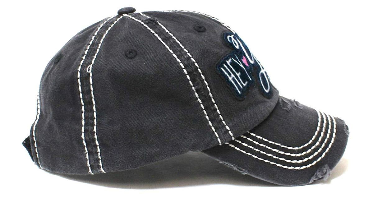 CAPS 'N VINTAGE New!! Black Hey Y'all Velvet Patch Emroidery Hat w/Heart Detail - Caps 'N Vintage
