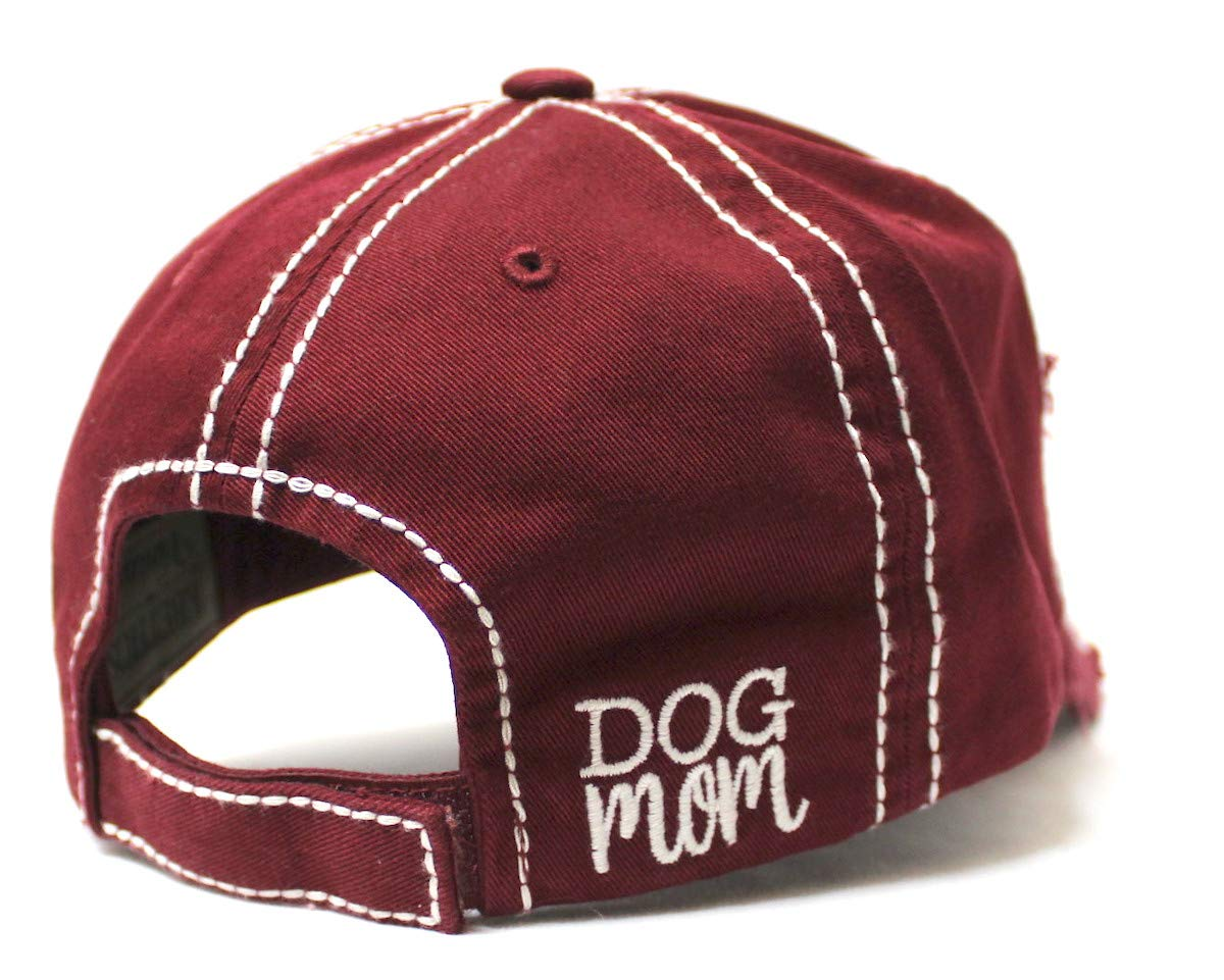 Women's Distressed Ballcap Dog Mom Puppy Love Patch Embroidery Hat, Wine Burgundy - Caps 'N Vintage