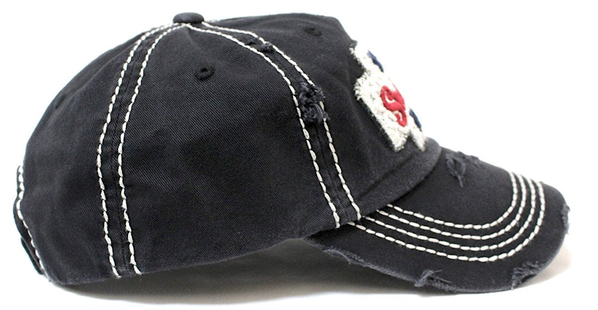 CAPS 'N VINTAGE Women's Distressed Talk Southern To Me Lace Embroidery Vintage Cap-Blk - Caps 'N Vintage