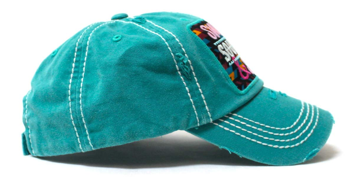 Women's Baseball Cap Sweet, Southern & Sassy Tribal Aztec Pattern Patch Embroidery Monogram Hat, Pretty Turquoise