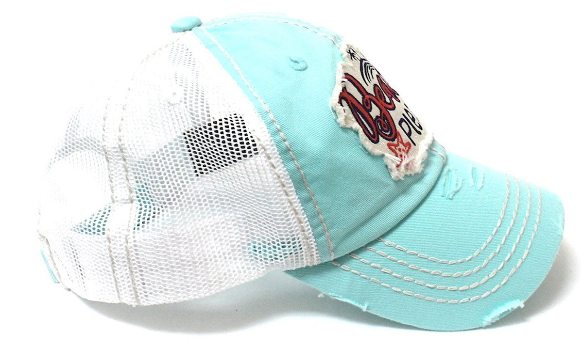 Ice Blue Beach Please Patch Embroidery Meshback Trucker Hat - Caps 'N Vintage