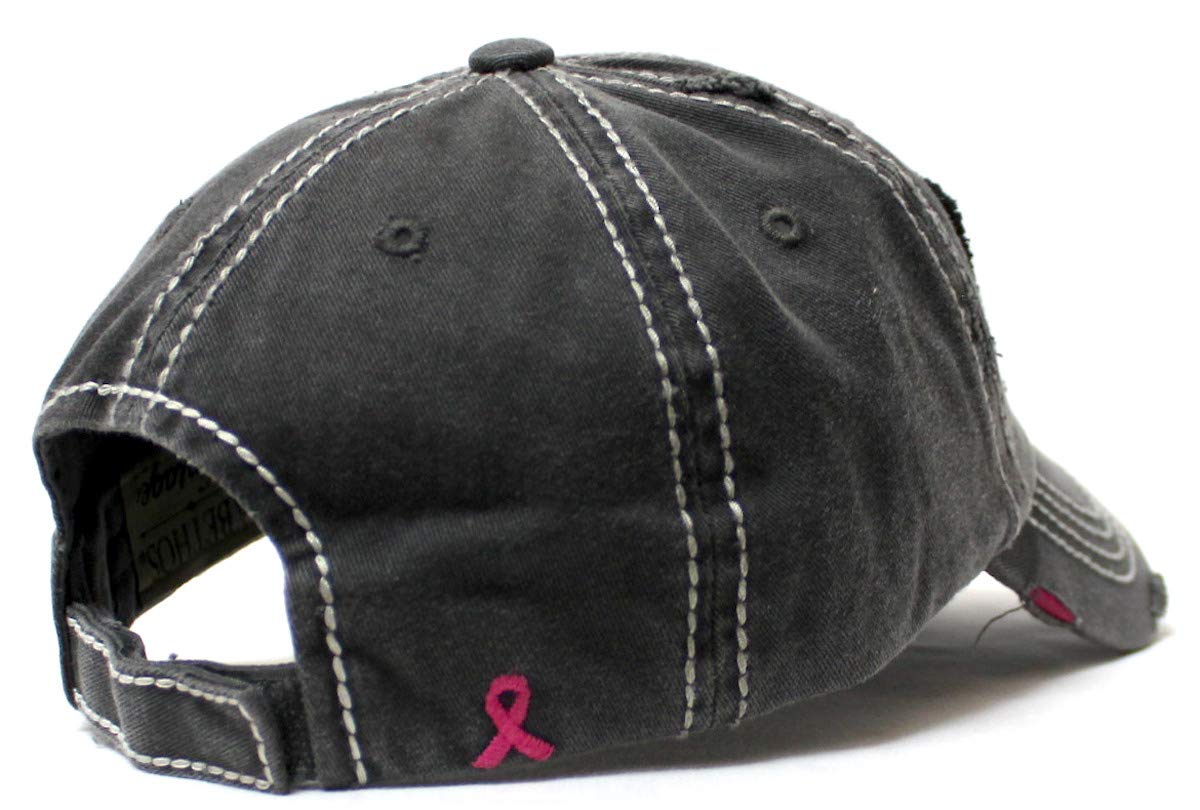 Women's Breast Cancer Awareness Baseball Cap American Flag, Pink Ribbons Patch Embroidery Monogram Hat, Vintage Black