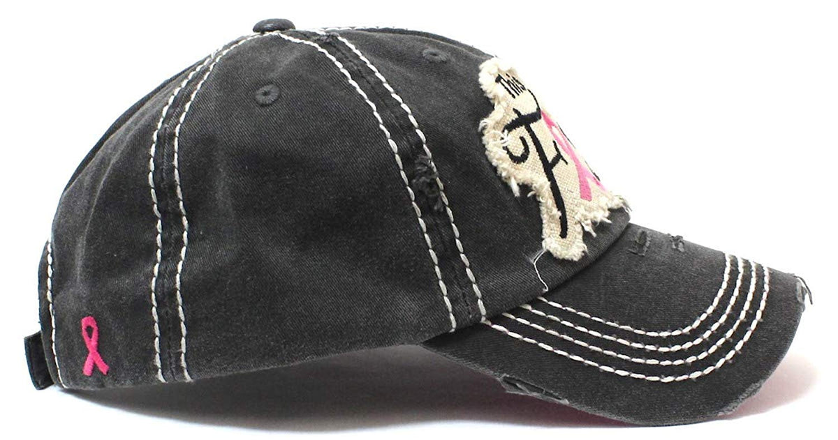 CAPS 'N VINTAGE Pink Ribbon This is My Fight Hat Breast Cancer Hat - Caps 'N Vintage