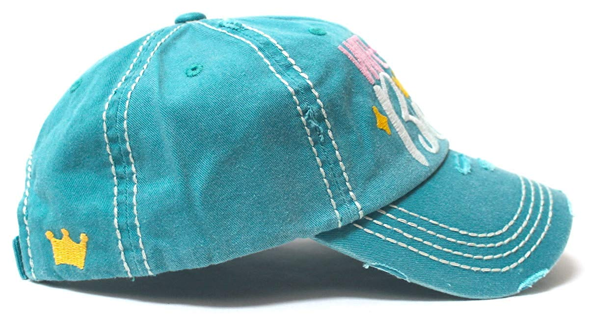 Women's Ballcap Wife Mom Boss Queen Crown Embroidery Hat, Turquoise - Caps 'N Vintage