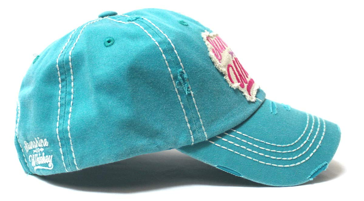 Women's Casual Ballcap Sunshine & Whiskey Tribal Arrow Patch Embroidery Monogram Hat, Turquoise w/Pink - Caps 'N Vintage