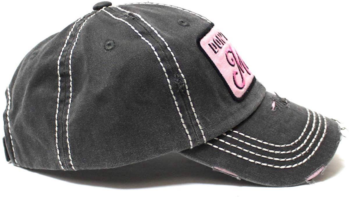 Women's Classic Ballcap Don't Mess with Mama Patch Embroidery Adjustable Baseball Hat, Vintage Black - Caps 'N Vintage