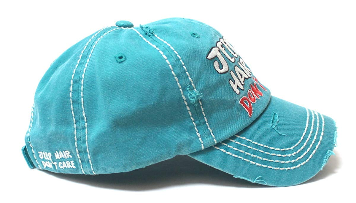 Ladies Bow-Tie Jeep Hair Don't Care Monogram Cheer Baseball Hat, Turquoise Blue - Caps 'N Vintage