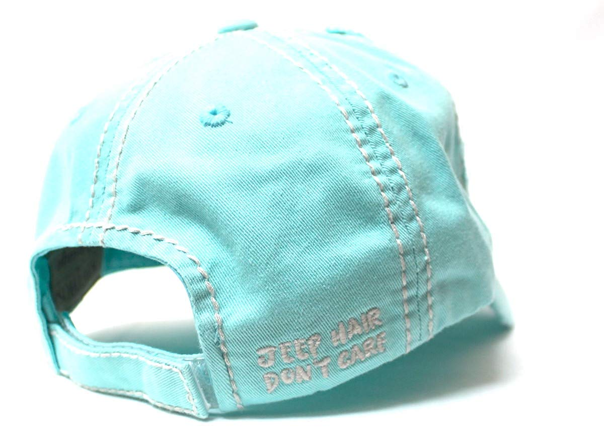 Ladies Bow-Tie Jeep Hair Don't Care Monogram Cheer Baseball Hat, Ice Mint Blue - Caps 'N Vintage