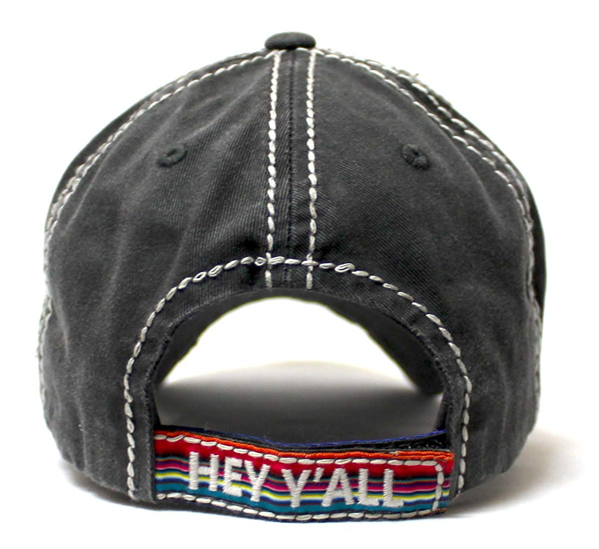 Hey Y'all Serape Monogram Embroidery Adjustable Hat, Vintage Black - Caps 'N Vintage
