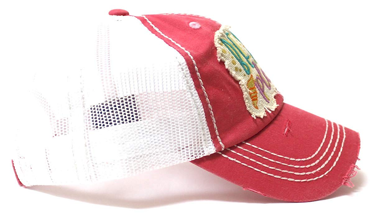Women's Vintage Trucker Hat Beach Please Patch Embroidery Graphic, Coral Rose - Caps 'N Vintage