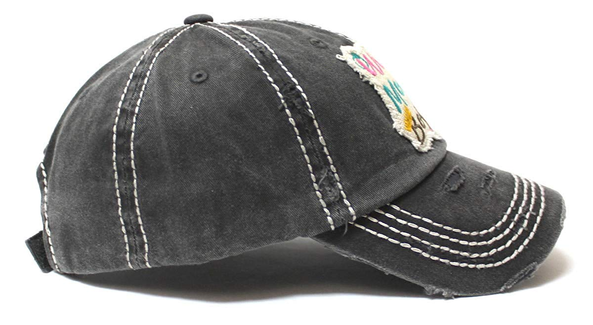 Women's Ballcap Wife, Mom, Boss Patch Embroidery Vintage Hat, Graphite Black - Caps 'N Vintage