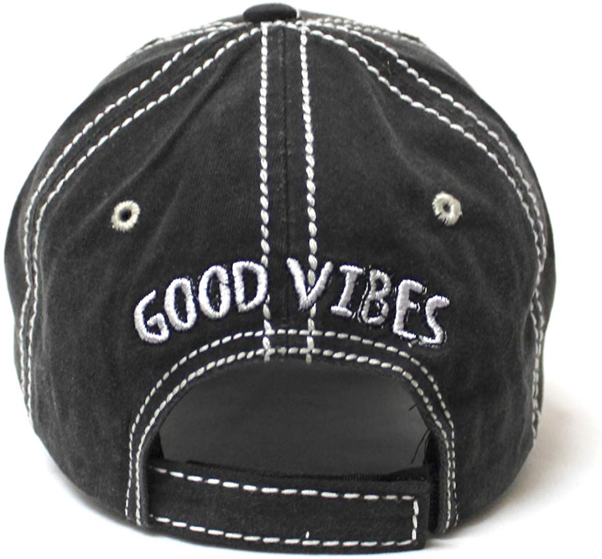 Leopard Print Good Vibes Monogram Patch Embroidery, Adjustable Baseball Hat, Vintage Black - Caps 'N Vintage