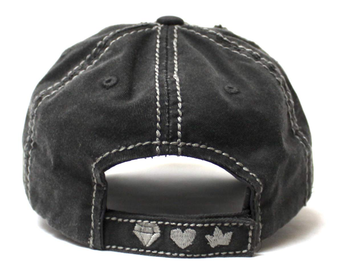 Women's Vintage Baseball Cap Wife, Mom, Boss Crown Diamond Hearts Monogram Embroidery Hat, Graphite Black