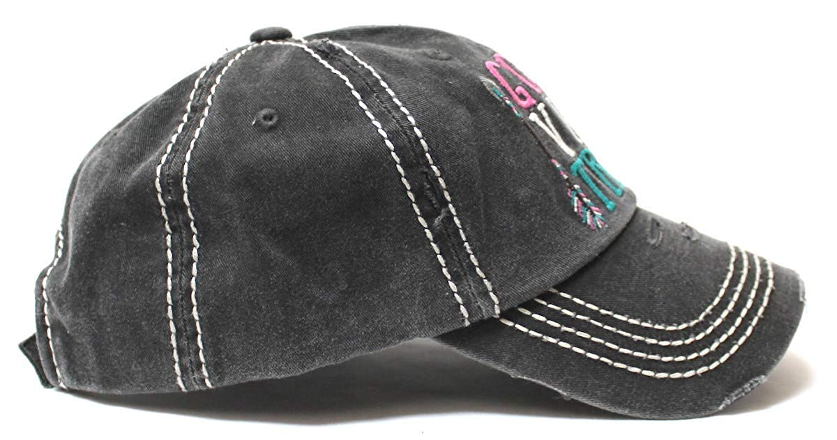 Women's Camping Cap Good Vibe Tribe Tribal Ethnic Arrow Monogram Embroidery Hat, Vintage Black - Caps 'N Vintage