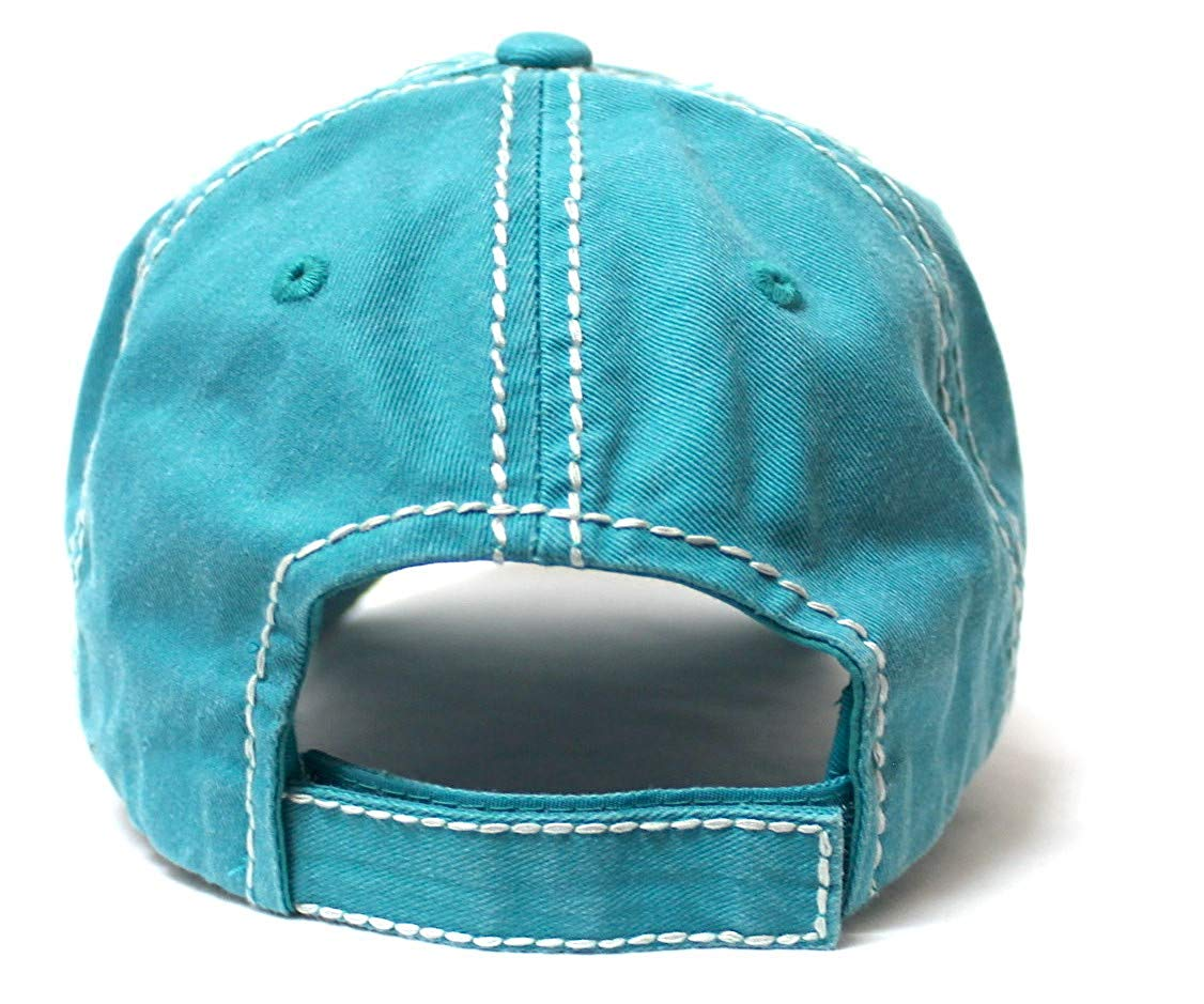 Country Humor Cap This Heifer Don't TAKE NO Bull Red Western Bandana Cow Patch Baseball Hat, Turquoise - Caps 'N Vintage
