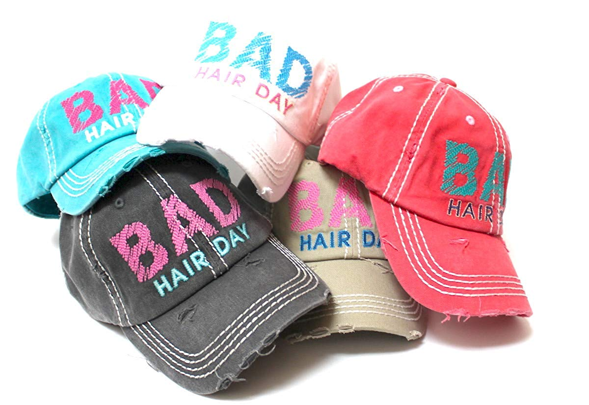 CAPS 'N VINTAGE Bad Hair Day Stitch Embroidery Distressed Baseball Hat, Turquoise Blue - Caps 'N Vintage