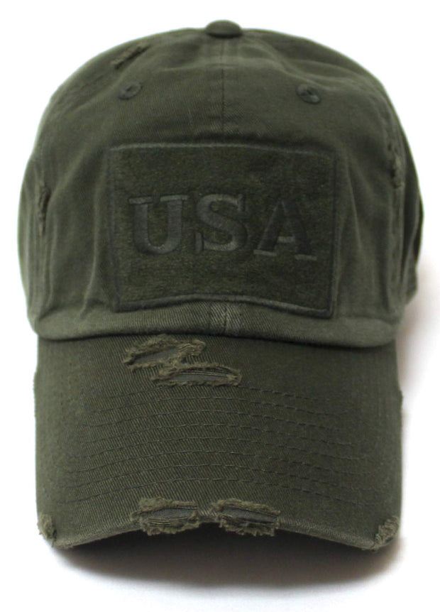 CAPS 'N VINTAGE Distressed USA American Flag Monogram Embroidery Adjustable Hat, Washed Army Green - Caps 'N Vintage