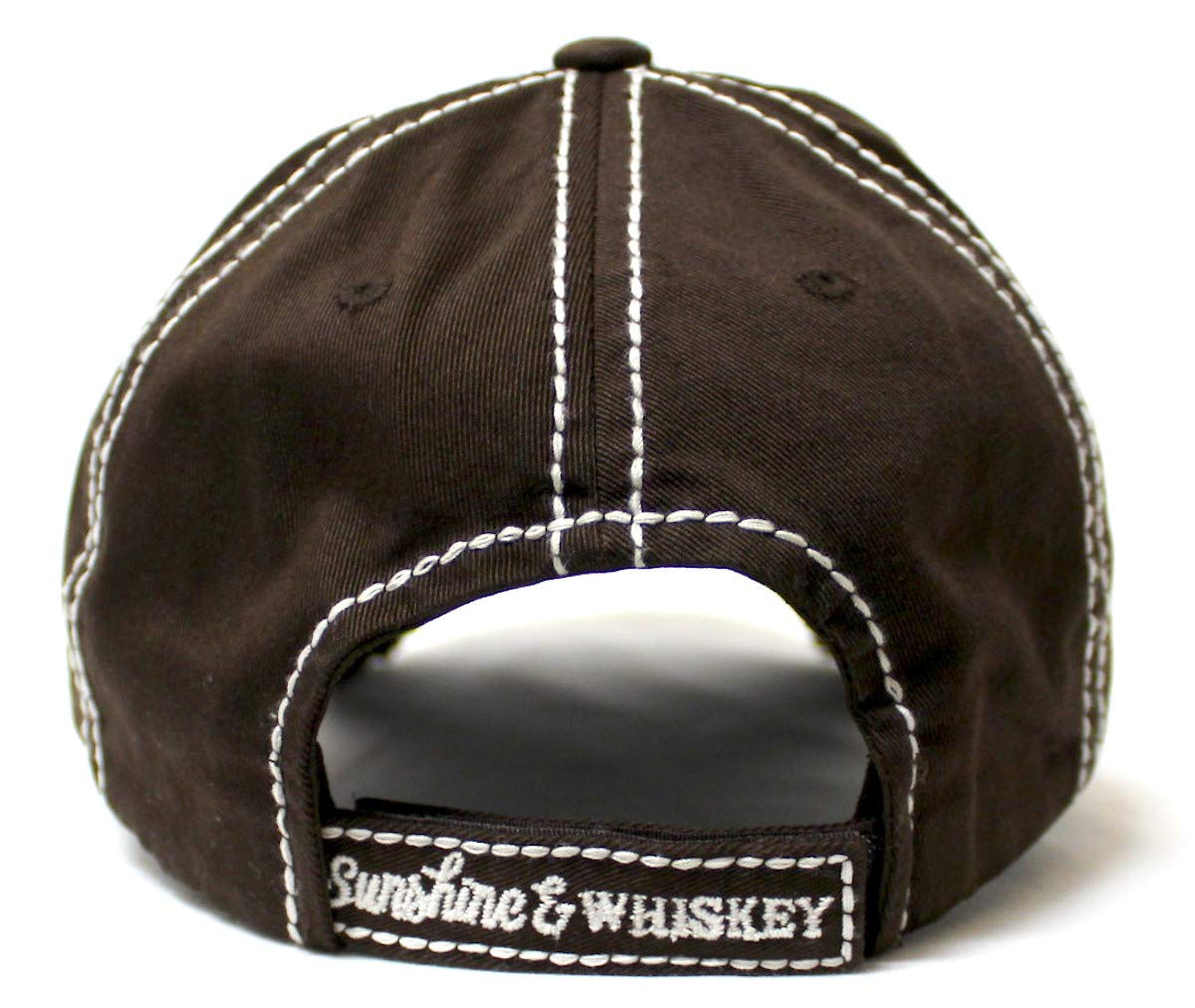 California Golden Chocolate Sunshine & Whiskey Distressed Vintage Hat - Caps 'N Vintage