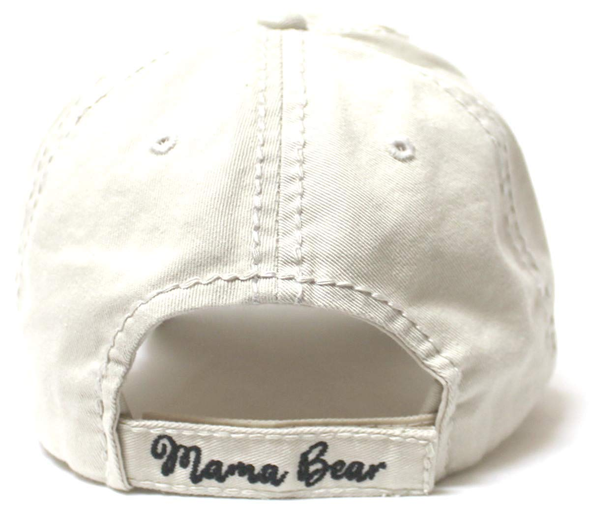 Women's Camping Cap Mama Bear & Cub Love Patch Embroidery Hat, Stone Ivory - Caps 'N Vintage